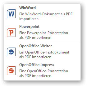 Screenshot: Import menu for Office documents
